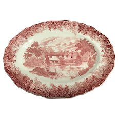 J&G MEAKIN romantic England  red oval serving platter