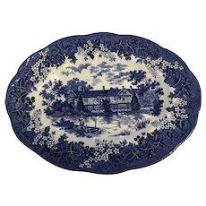 """Vintage J&G MEAKIN England Blue 12"""" meat platter"""