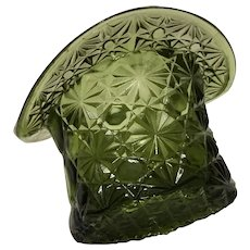 Olive Green Glass Daisy Button Hat 1970's