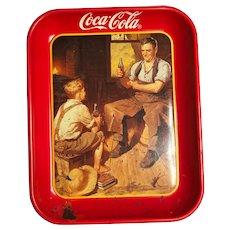 Coca-Cola metal tray :Village blacksmith 1987
