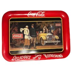 Coca-Cola delicious sold everywhere five cents refreshing metal tray 1987