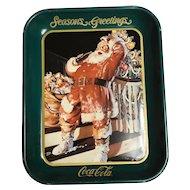 Vintage santa Coca-Cola tray/Seasons Greetings/ 1992