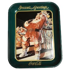 Vintage santa Coca-Cola tray/Seasons Greetings/ 1992