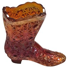 Fenton Art Glass Boot-marigold-  Daisy and Button design 1970