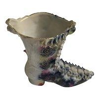 Antique Ruffled Porcelain  Boot -1900s