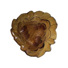 Amber triangle candy dish, berry and leaf design 1960s