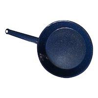 Cobalt Blue and white granite frying pan 1970s