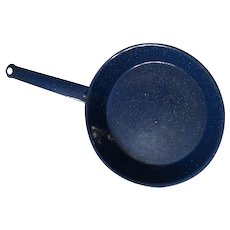 Cobalt Blue and white granite frying pan 1970s