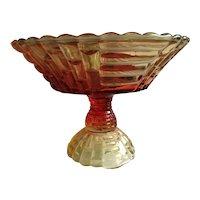 Amberina Glass Pedestal Bowl NEW ENGLAND GLASS CO. 1920s