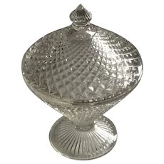 Clear Diamond Point Candy Dish with pedestal and lid 1960s