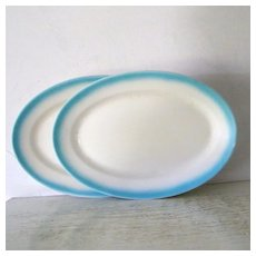 2 Large Turquoise and White Jackson China Oval Serving Plates Restaurantware