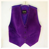 Vintage Purple Leather Suede Vest Mint Ladies size Large