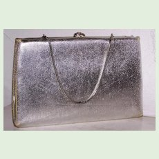 After Five Silver Lame` Clutch Coin Purse 24 Rhinestone Clasp