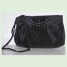Black Sateen and Rhinestone Shoulder Clutch Evening Bag