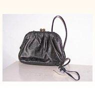 Vintage Etra Black Leather Shoulder Bag Purse~Mint