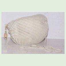 White Enamel Mesh Barrel Pouch Shoulder Bag Evening Bag