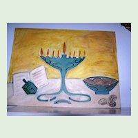 Naive Art 18 x 24 Hanukkah Menorah original Oil Painting