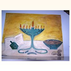 Half-OFF  Hanukkah Menorah original Oil Painting