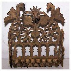 Rare Antique Bench Style Hanukkah Brass Oil Menorah