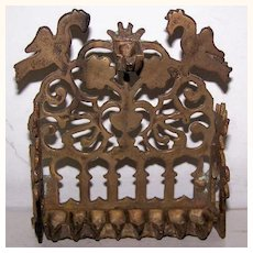 Rare Antique Bench Style Brass Oil Menorah
