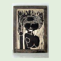 Original Wood Engraving Tribal Woman