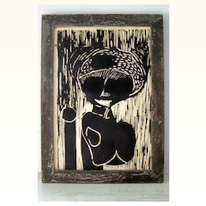 Original Wood Engraving Tribal Woman