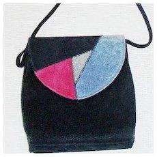 Black Suede Shoulder Bag Tri-Color Flap