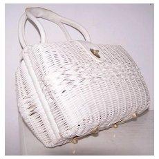Double sided White Rattan Leather Satchel handbag British Hong Kong