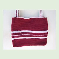 Handmade Knit Tote Purse Red and White Mint
