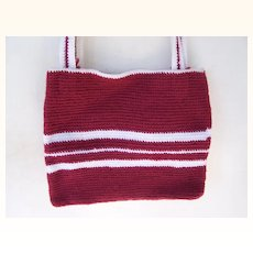 Handmade Knit Purse / Tote Red & White Mint!
