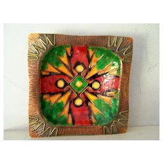 BOLD Enamel on Copper Square Plate