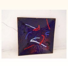 Abstract Enamel On Metal Tray Modern / Mid Century