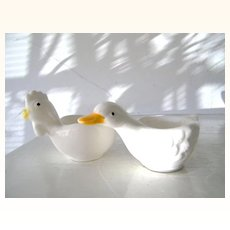 Vintage Duck and Chicken Porcelain Egg Cups