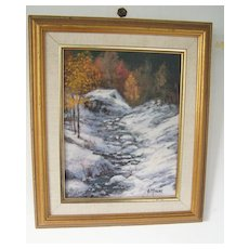 Original Painting Autumn Winter Landscape by Muscat Signed