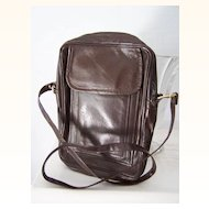 Brown Leather Unisex Shoulder Cross Body Bag Mint!