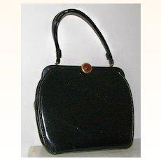 Black Patent Handbag Root Beer Lucite Clasp