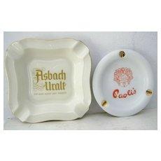 2 Adv. ashtrays Rosenthal Thomas Marktredwitz Germany and Paoli's Ashtray