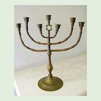 Antique Brass Shabbat Menorah Judaica