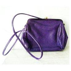 Nordstrom Italian Purple Lizard Leather Shoulder Purse Cross Body Bag