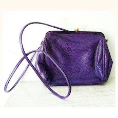 Italian Purple Lizard Leather Shoulder Purse Cross Body Bag (snakeskin)