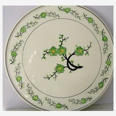 Hand painted Japanese porcelain cake plate Green and White