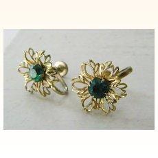 Green Rhinestone Floral Earrings Screw Back