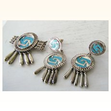 Rare Sterling Silver Turquoise Yanhuitlan Brooch Pendant  Earring Set Mexico