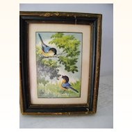 Signed framed Original Watercolor painting blue birds