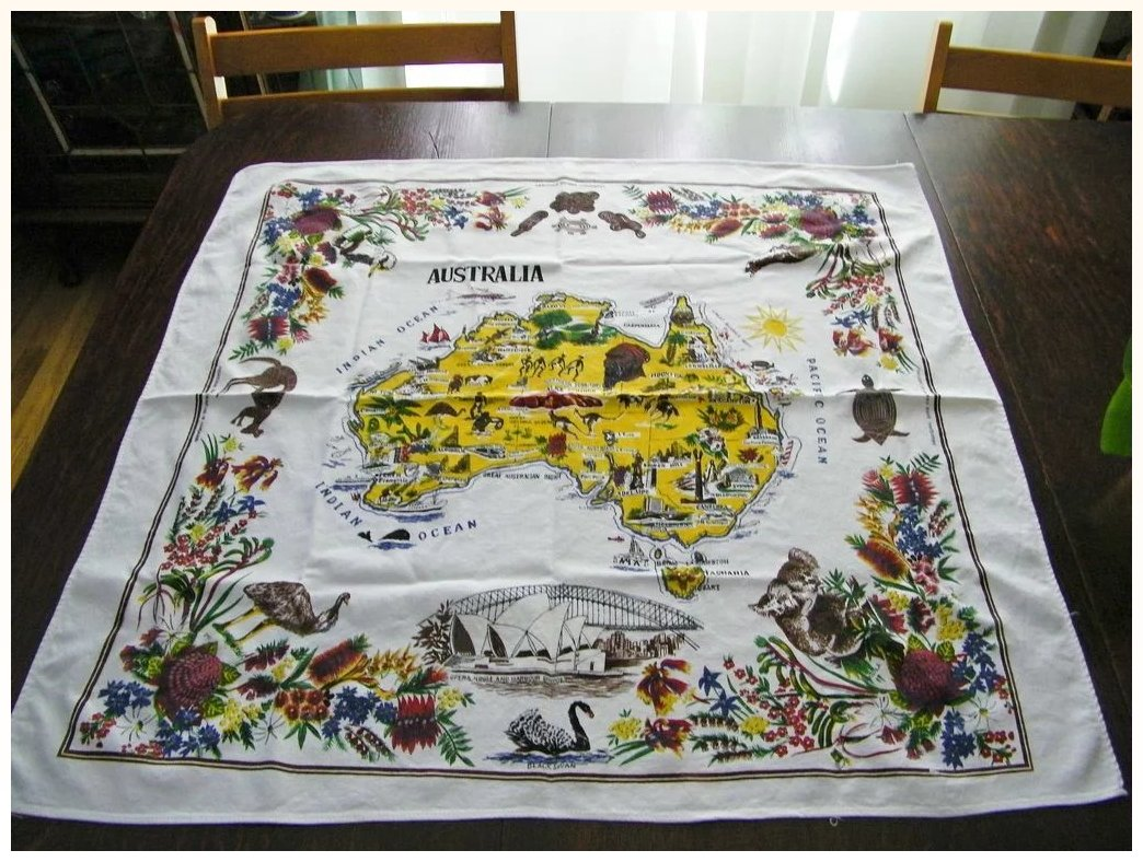 Vintage australian tablecloth 31 x 33 kitchengarden purses click to expand gumiabroncs Choice Image
