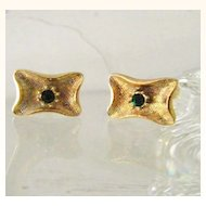 Gold Filled Cufflinks w' Faux Emerald