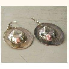 Sterling Silver Cowboy Hat Pierced Earrings