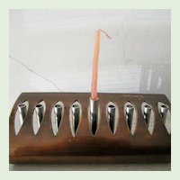 Signed Copper and Steel Hanukkah Original Art Menorah