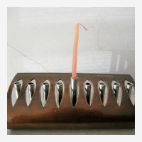 Signed Copper and Steel Hanukkah Menorah Original Art