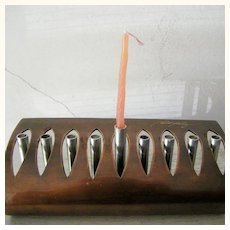 Unique Signed Copper and Steel Hanukkah Menorah Vintage Contemporary